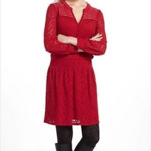 Anthro Leifnotes Red Field Day Red Lace Dress XS